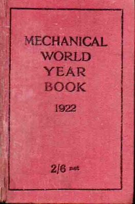 Mechanical World Year Book 1922 - Early Engineer's Reference - H/b