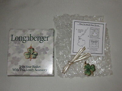Longaberger 1999 LOTS OF LUCK BASKET TIE ON ONLY St. Patricks Shamrock Clover