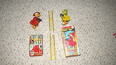 Linemar Working Donald Duck Climbing Fireman Tin Toy + Mike Mallard +  Repro Box