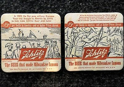 Schlitz beer coasters square themed from 1930's