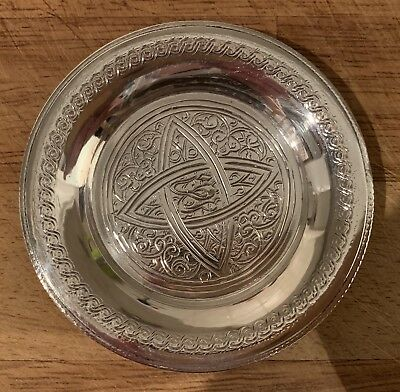 Antique Vintage Egyptian Islamic Hallmarked Solid Silver Pin Dish Plate Coaster