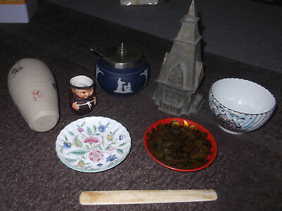 Joblot Of Vintage & Antique Items -Card Steeple, Bone Page Turner, Ceramics, Etc