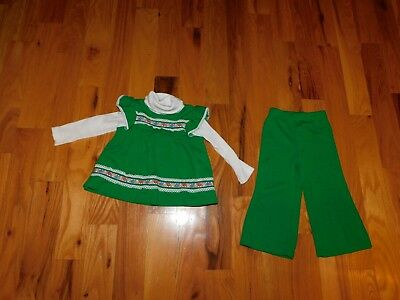 1970's Carter's Girl Outfit Green Knit w/ Bell Bottom Pants Retro Size 2T