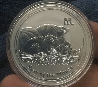 2008 1oz Silver MOUSE Australia Perth Mint Lunar Year of the Mouse .999% Silver