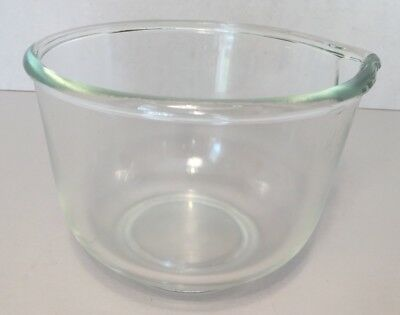 "Small Clear Glass Mixing Bowl w/Spout ""GLASBAKE""  for Sunbeam Mixmaster ~ USA ~"