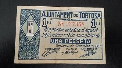 Guerra Civil. Billete local 1 peseta TORTOSA.