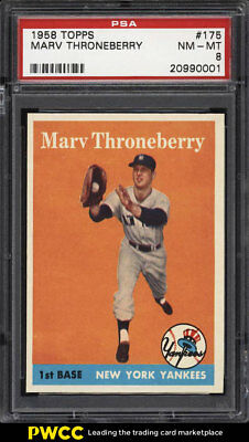 1958 Topps SETBREAK Marv Throneberry #175 PSA 8 NM-MT (PWCC)