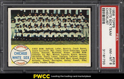 1958 Topps SETBREAK White Sox Team CHECKLIST #256 PSA 8 NM-MT (PWCC)