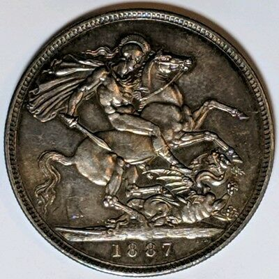 1887 Great Britain Crown Silver Coin CHOICE AU with subtle color