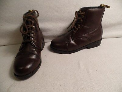 Saxton Ankle Style Lacer Boots Little Boys Size 1 Brown Man Made Materials