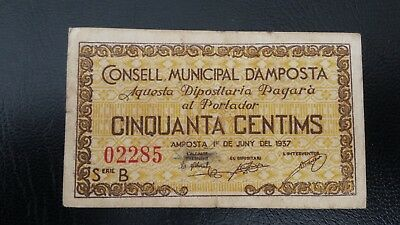 Guerra Civil. Billete local 50 céntimos AMPOSTA