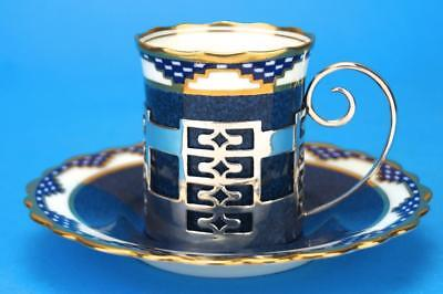 ART DECO Blue AYNSLEY Coffee Cup/Can Saucer HM SILVER Holder 1920 WALKER & HALL