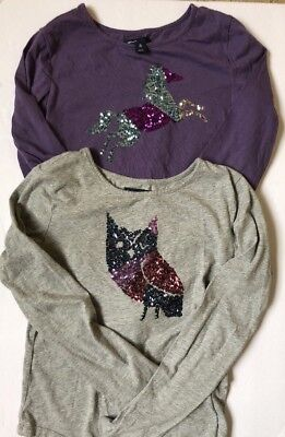 Girls Gap Long Sleeve Purple Sequin Horse Shirt Size XL (12) Owl