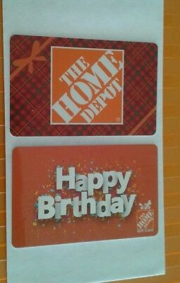 2 Home Depot Gift Cards Happy Birthday, Plaid Box, Plastic Mint Collectible 2018