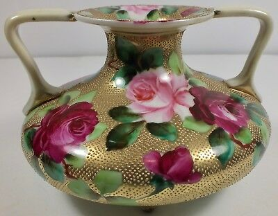 Gorgeous Antique Hand Painted Nippon All Over Gold Moriage 2 Handled Footed Vase