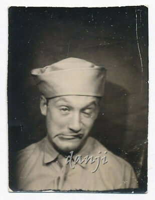 SOLDIER with DRUNKEN SNEER Smoking a CIGAR STUMP* old PHOTOBOOTH Photo