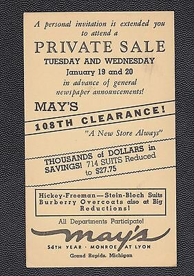 1937 May's Private Sale, Grand Rapids, Michigan, clothing store ad post card