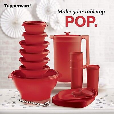 HUGE Tupperware Servalier Bowl set, pitcher and tumblers 16 PC set $69 ends 1/25