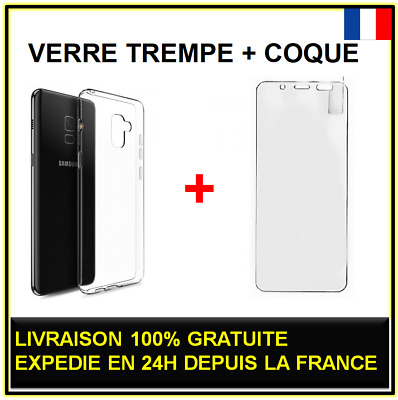 Lot verre trempé + Coque Samsung Galaxy A3 A5 A6 A7 A8 Plus 2015 2016 2017 2018