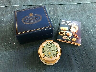 SUPERB Halcyon Days WITH AFFECTION ENAMEL PILL TRINKET BOX  MINT IN BOX!!