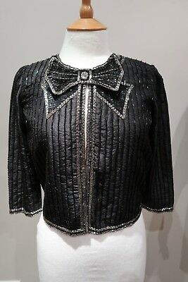 Topshop Crop Sequin Bow Trophy Jacket Uk 6 Us 2 Eur 34 Bnwt £95 Luxury Rare