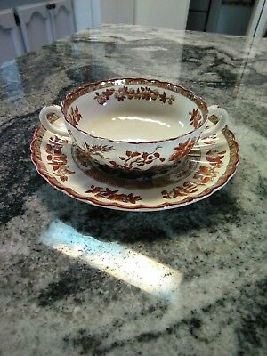Copeland Spode India Tree Old Mark Cream Soup Bowl & Saucer Set Made In England
