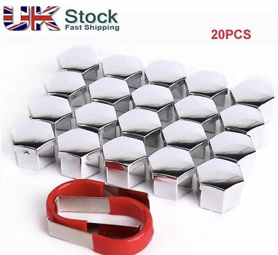 19mm SILVER ALLOY CAR WHEEL NUT BOLT COVERS CAPS UNIVERSAL FOR ANY CAR NEW