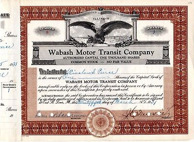 The Wabash Motor Transit Company  of Chicago, IL 1931 Stock Certificate