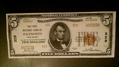 1929 $5 Type#2 Patterson N.j. National Currency Ch. #329 High Grade 9 Known