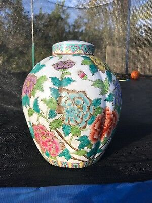 Large Antique Chinese Famille Rose Porcelain Jar
