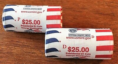2007 P&D G Washington President Coin Dollar Roll Set US Mint Wrapped 50 Coins