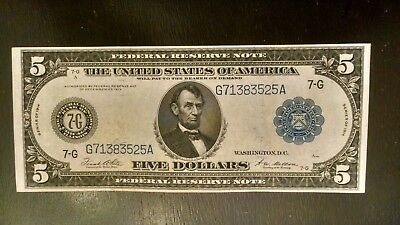 1914 $5 Frn Fr# 871A High Grade Strong Au/1400 Notes Known  Average Grade Is Vf