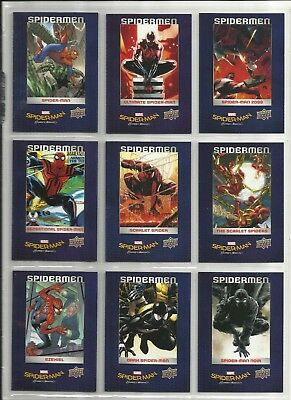 "2017 Spider-Man: Homecoming SPIDER-MEN ""Complete Set' of 9 Chase Cards (SM1-SM9)"