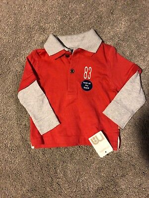 Baby boy new long sleeve t shirt red 6-9 months mothercare