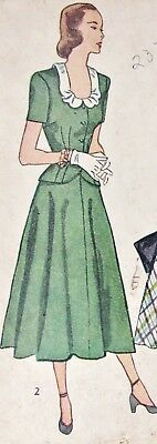 1940s Simplicity Sewing Pattern 2373 Top & Skirt 2 Piece Suit Dress Size 18 b 36
