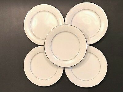 "(5) Vintage Noritake Buckingham Platinum #6438 White China 10 1/2"" Dinner Plates"
