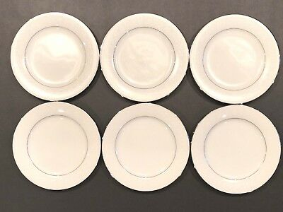 "(6) Vintage Noritake Buckingham Platinum #6438 White China 8 1/4"" Salad Plates"