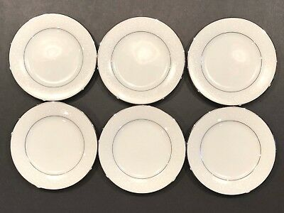 "(6) Noritake Buckingham Platinum #6438 White China 6 1/4"" Bread & Butter Plates"