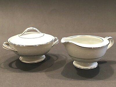 VINTAGE NORITAKE BUCKINGHAM PLATINUM #6438 WHITE CHINA CREAMER & SUGAR w/ LID