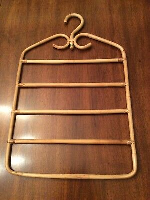 Rattan Hanger Wicker Pant Trouser Scarf Multi Level Vintage Closet Organizer