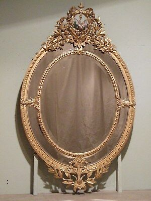 VERY LARGE FRENCH ANTIQUE GILT OVAL WALL MIRROR C1875 over 5ft tall