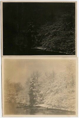 Night And Day Two Filters, Same Negative Snowy Day River Vintage Snapshot Photos