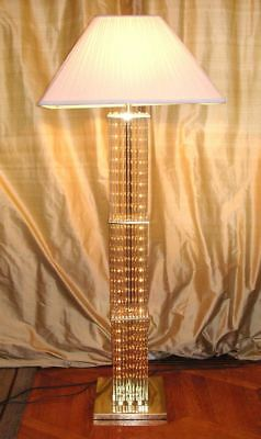 Vintage LIGHTOLIER Glass Rods Floor Lamp. By Gaetano Sciolari Hollywood Regency