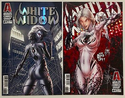White Widow #1 Silver & Red Foil Variant Lot, NM/NM+, Absolute Comics