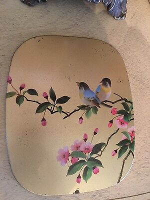 Vintage Hand Painted? BirdTrivet~ Pink Flowers With Gold Background~ Pretty!