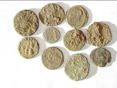 10 ANCIENT ROMAN COINS AE3 - Uncleaned and As Found! - Unique Lot X34432