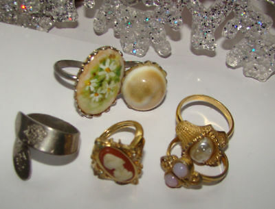 Vintage Lot Of  6 Rings,rhinestone,faux Pearl,cameo Different Sizes