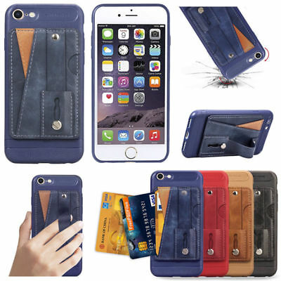 Fr iPhone 8/7 Plus XS Max XR X/XS Leather Card Slot Handle Stand Slim Case Cover