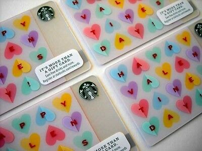 Starbucks Card Valentine's Day Candy Hearts Set 4 Cards Lot Limited Edition New