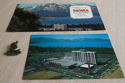 1960's SAHARA TAHOE HOTEL AND CASINO POSTCARDS AND LAPEL SKI PIN